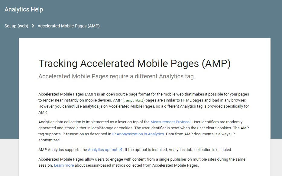 AMP Analytics  described by Google