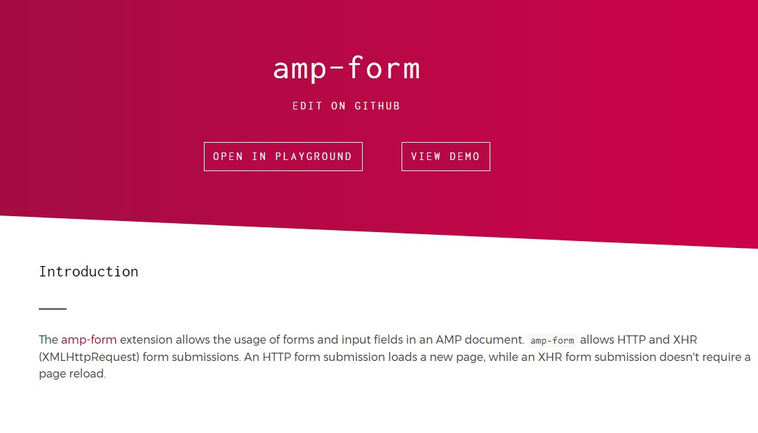 Really good  cases of forms  based upon AMP pages