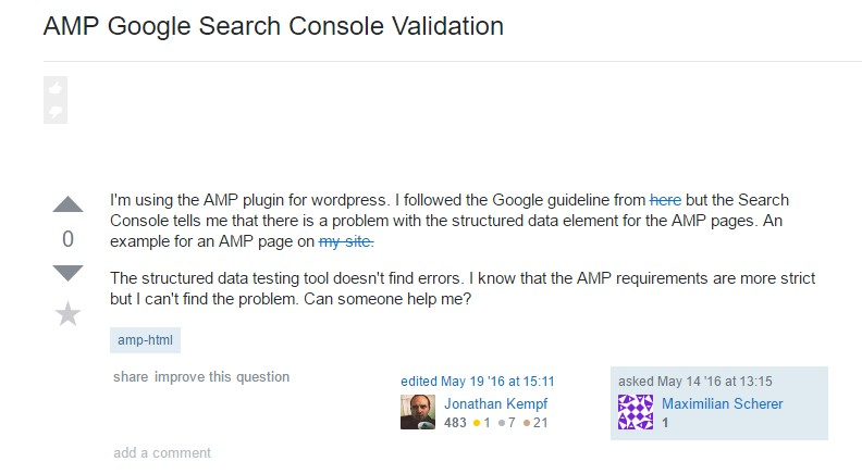 AMP Google Search Console Validation - issue on Stackoverflow