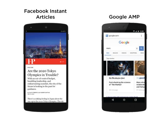 Facebook instant articles, Google Accelerated Mobile Pages