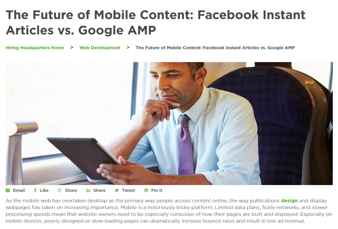 The Future of Mobile Content: Facebook Instant Articles vs. Google AMP
