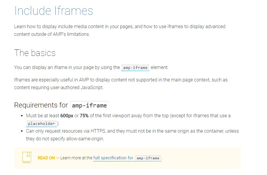 AMP IFrame - amp-iframe examples and tricks