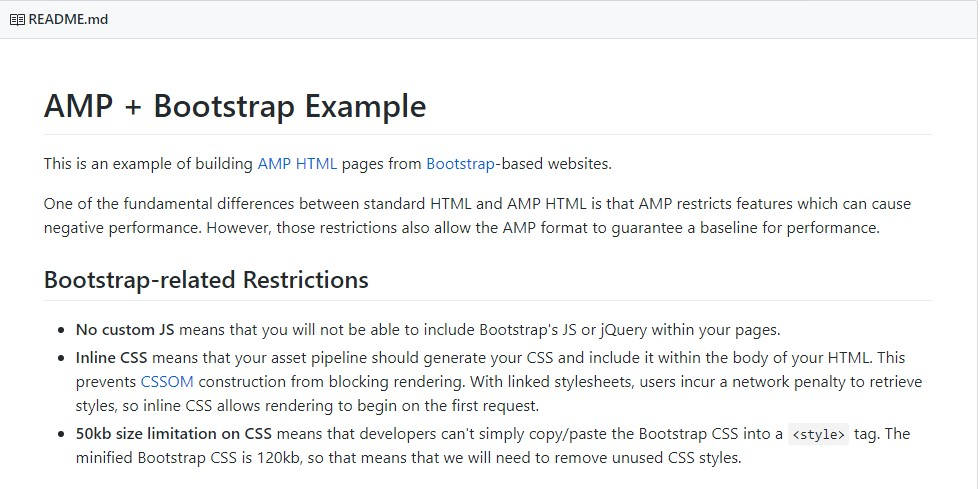 AMP + Bootstrap Example