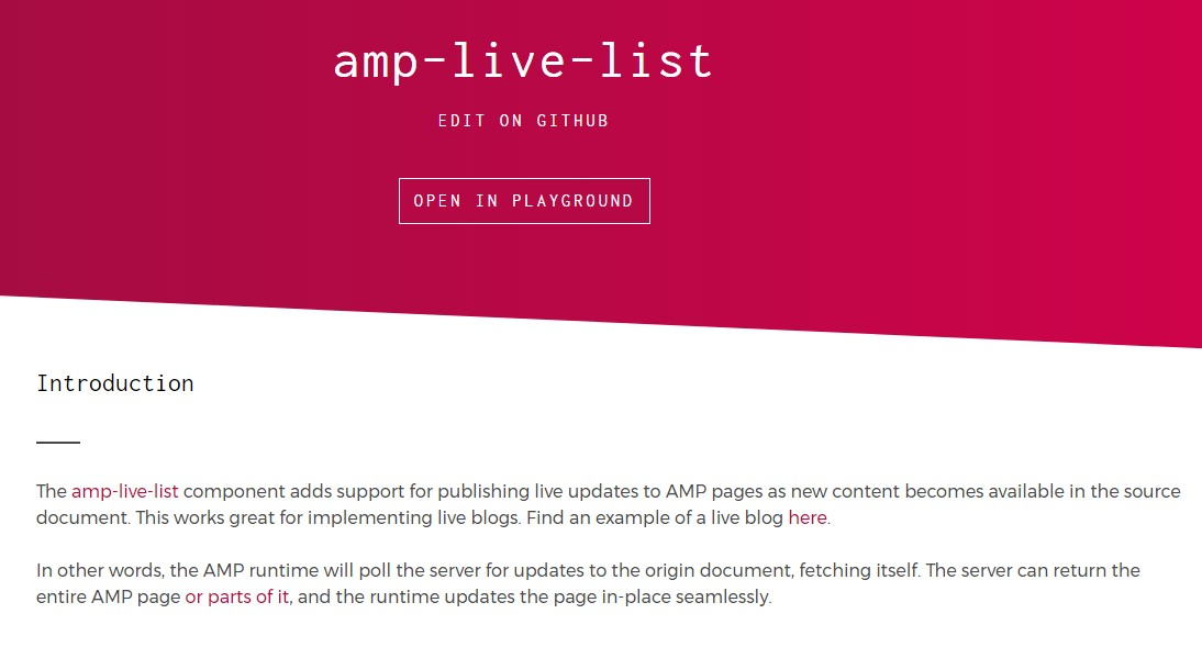 Amp-live-list - a number of examples.