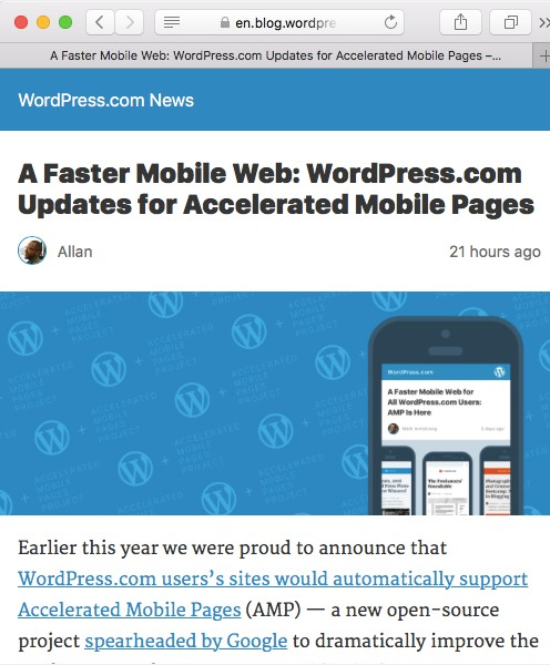 AMP on Wordpress  overview