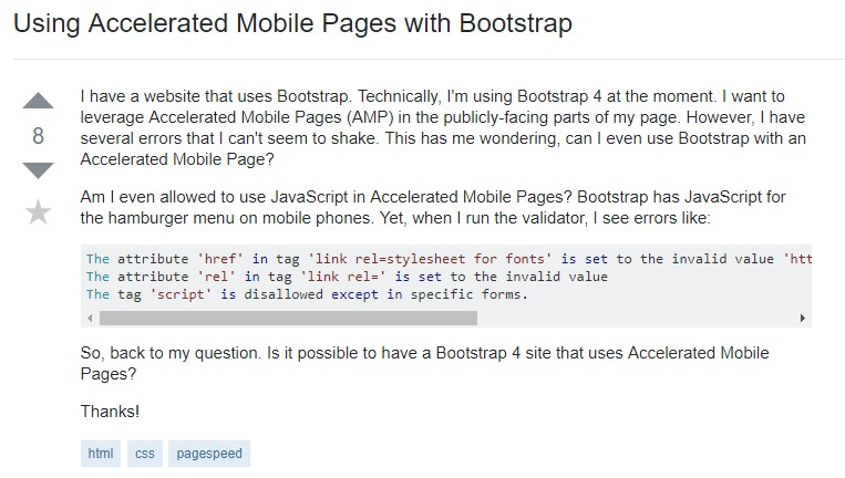 Using Accelerated Mobile Pages with Bootstrap